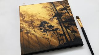 Easy Landscape Painting Tutorial Acrylic | Gold Forest |Abstract Acrylic Painting on Canvas Tutorial