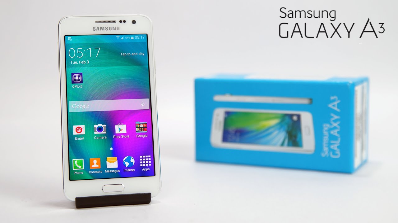 samsung galaxy a3 unboxing hands on youtube. Black Bedroom Furniture Sets. Home Design Ideas