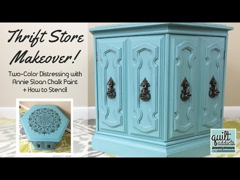 Thrift Store Upcycle! 2 Color Distress with Annie Sloan Chalk Paint + Stencil Without Bleeds