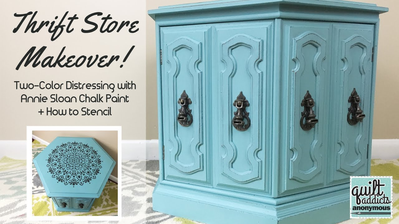 2 Color Distress With Annie Sloan Chalk Paint Stencil Without Bleeds