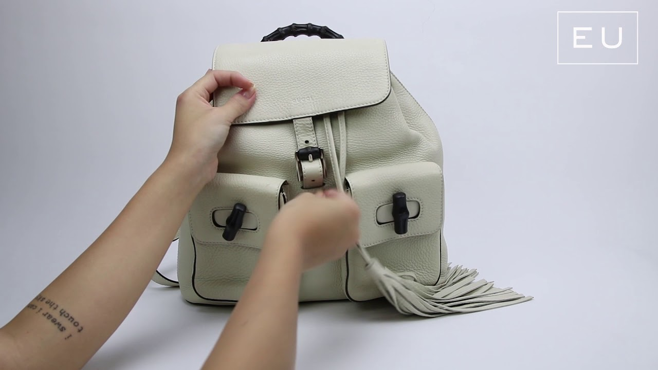 Mochila Gucci Bamboo Sac Leather Backpack Off-White   Etiqueta Única ... fcfaff53510