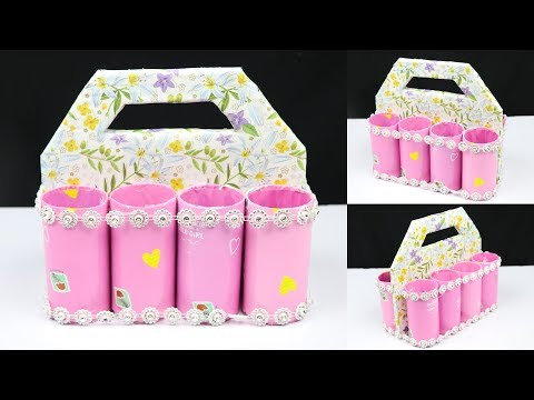 How to make a diy organizer with tissue paper roll and cardboard | best out of waste
