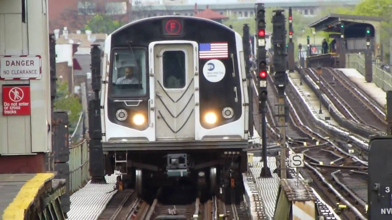 IND Culver Line: R160A-2 F Train at Ave X-Shell Road ...