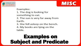 1114.Examples on Subject and Predicate