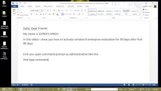 How to activate your  window 8 enterprise evaluation for 90 days