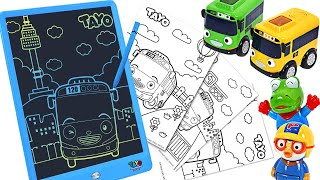 Let's Drawing a nice picture with the Tayo sketch board with Pororo!  | PinkyPopTOY