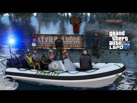 GTA 5 Coastal Callouts | Sheriff Marine Unit Boat Rescues Stranded Hurricane Survivors |