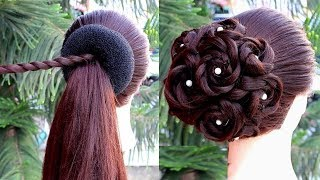 Latest Flower Bun Hairstyle Step By Step || hairstyles for short hair || bridal hairstyle