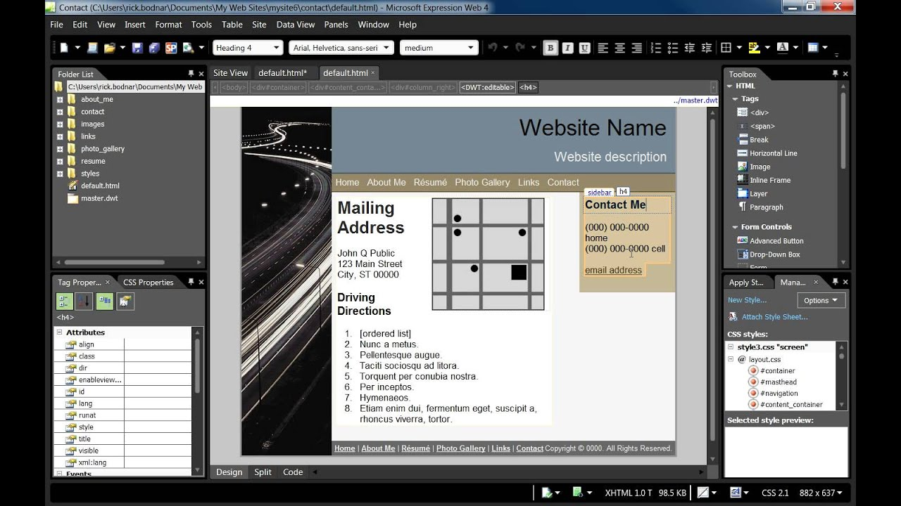 microsoft expressions templates using dynamic web templates in expression web 4 youtube