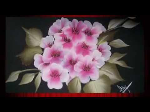 Pintando flores paso a paso con pintura decorativa de - Aprender a pintar en madera ...
