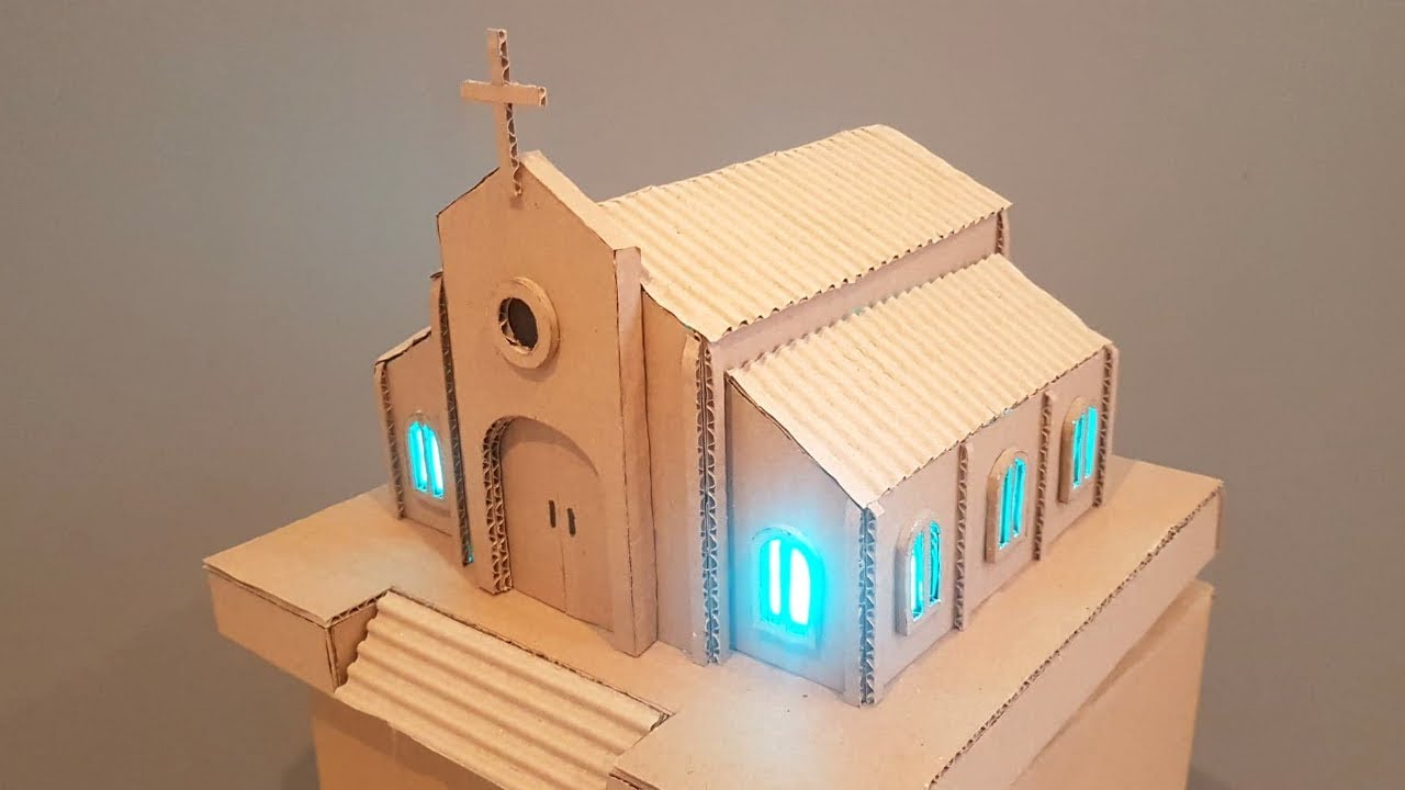 Diy How To Make A Spectacular Church From Cardboard With Coloured Led Lights Youtube