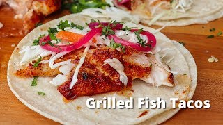 Grilled Fish Tacos | Snapper Fish Taco Recipe on the Big Green Egg