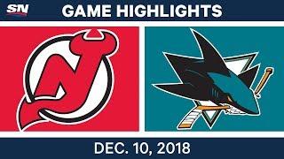 NHL Highlights | Devils vs. Sharks - Dec 10, 2018