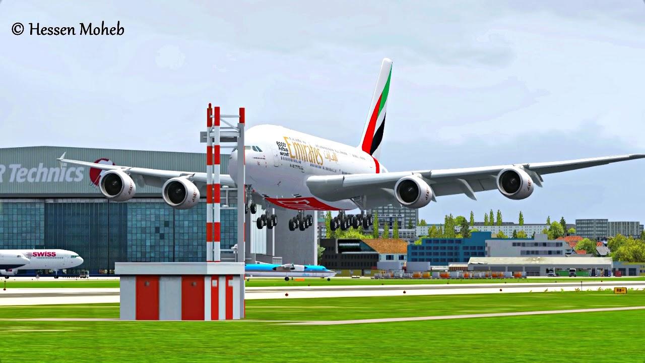 FSX Emirates Airbus A380 Landing At Zurich