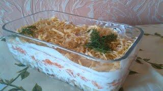 Салат слоями з куркою і грибами
