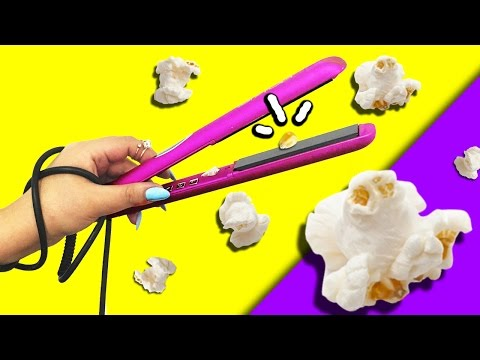 POPCORN With a FLAT IRON?! LIFE HACK ♥ SLOW-MOTION!