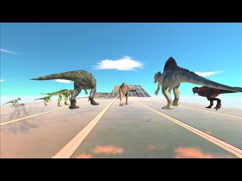 Carnivorous dinosaur speed race. Long straight course!   Animal Revolt Battle Simulator  