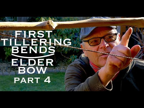 Making an Elder Bow. My 12th Bow? First Tillering Bends (the scary bit!). Part 4