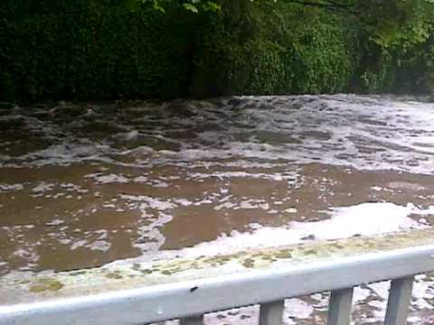 Flooded Water of Leith in Edinburgh