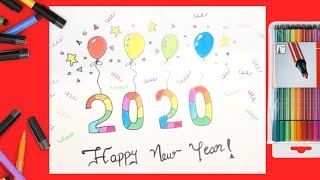 How to Draw Happy New Year 2020 Drawing and Coloring 2020 Celebration New Year Card