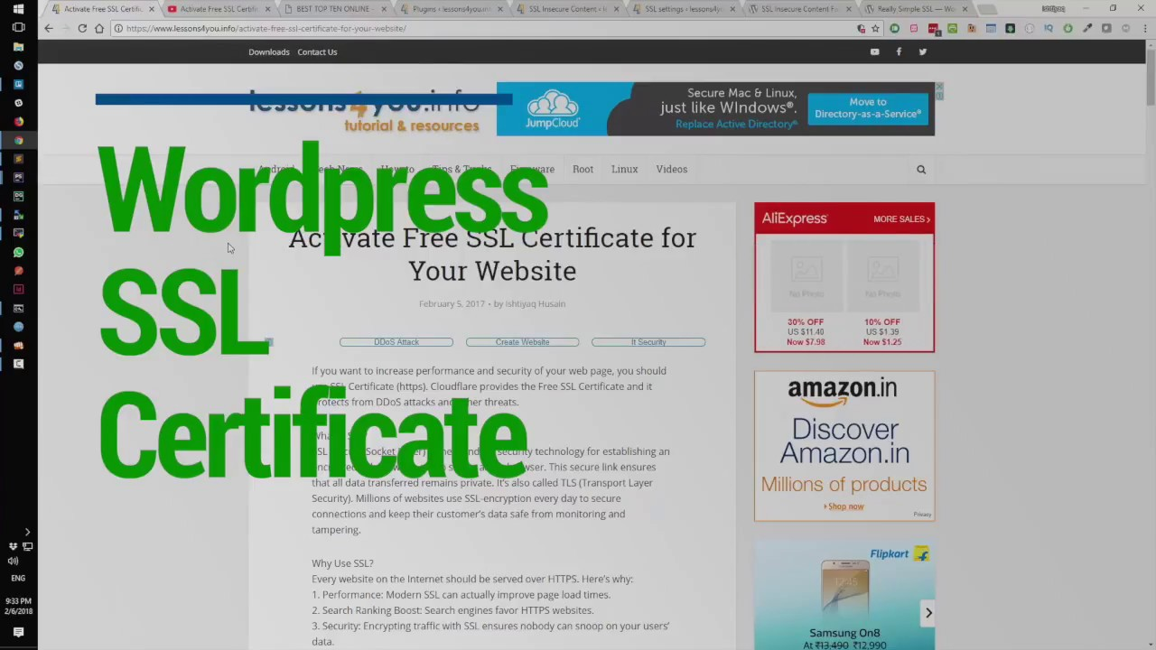 Activate Free Ssl Certificate For Wordpress In Hindi Youtube