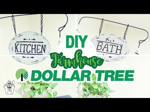 DIY FARMHOUSE HANGING KITCHEN AND BATH SIGN | DOLLAR TREE FARMHOUSE SIGN