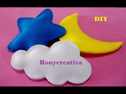 Como hacer lunas estrellas y nubes 3d en foamy o goma eva - Hacer nombres con goma eva ...