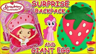 Super Cute Strawberry Shortcake Back To School Backpack + Huge Strawberry Play Doh Surprise Toy Egg