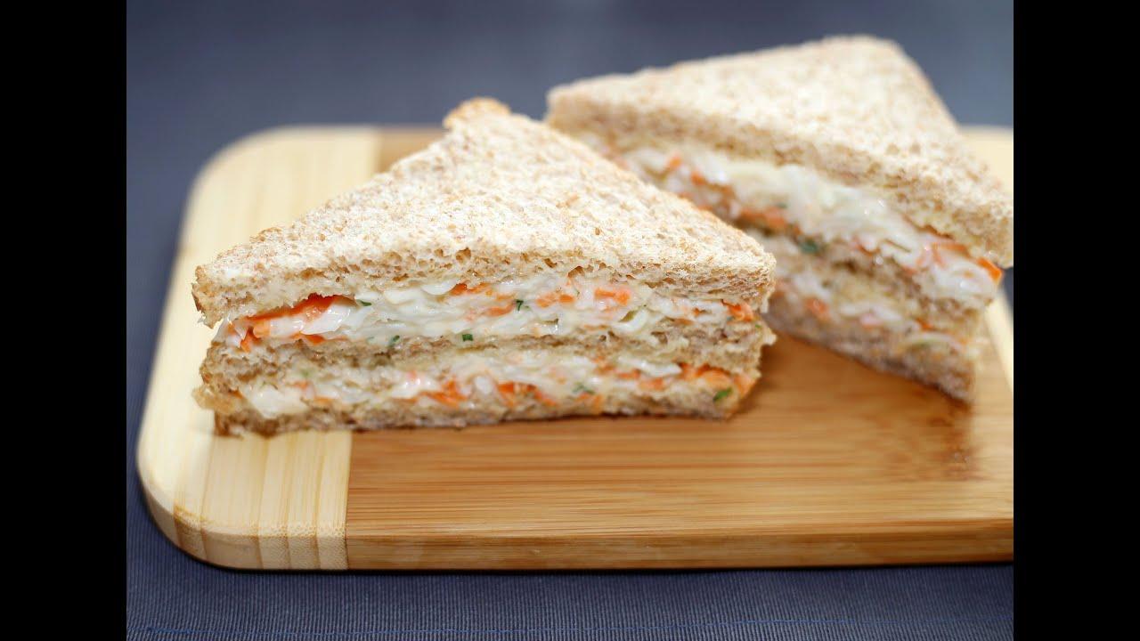 แซนด์วิชปูอัดแบบไส้ทะลัก - Crab Stick Sandwich Recipe - YouTube