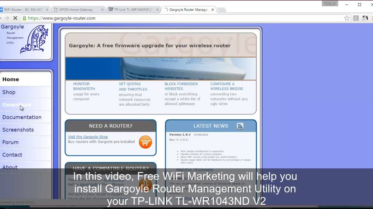 Install Gargoyle Wireless Router Management Utility for TP-LINK TL-WR1043ND  V2