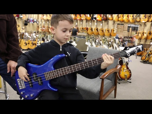 7-year-old Bassist Aron Hodek at Normans Rare Guitars