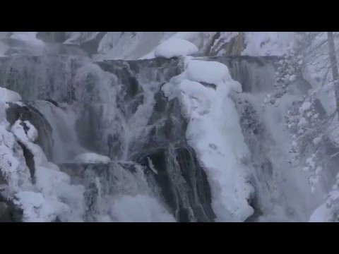 Frozen waterfall in Yellowstone's winter