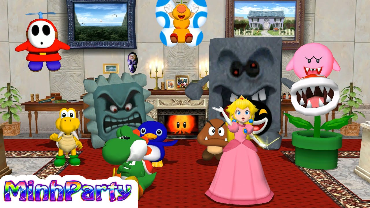Mario Party 8 Minigames Yoshi Vs Peach Vs Mario Vs Luigi Gameplay