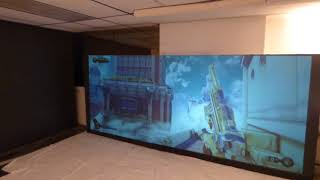 """NEW BLACK  158"""" 2.35:1 OLED LIKE PROJECTION SCREEN KIT WITH NEW PROJECTOR AND MORE!"""