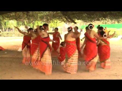 Assamese women perform 'Rongali Bihu' dance