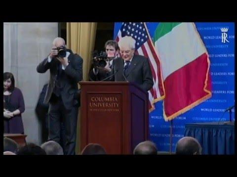Intervento del Presidente Mattarella alla Columbia University