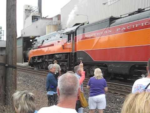 Southern Pacific 4449 leaving the Battle Creek, Michigan Station