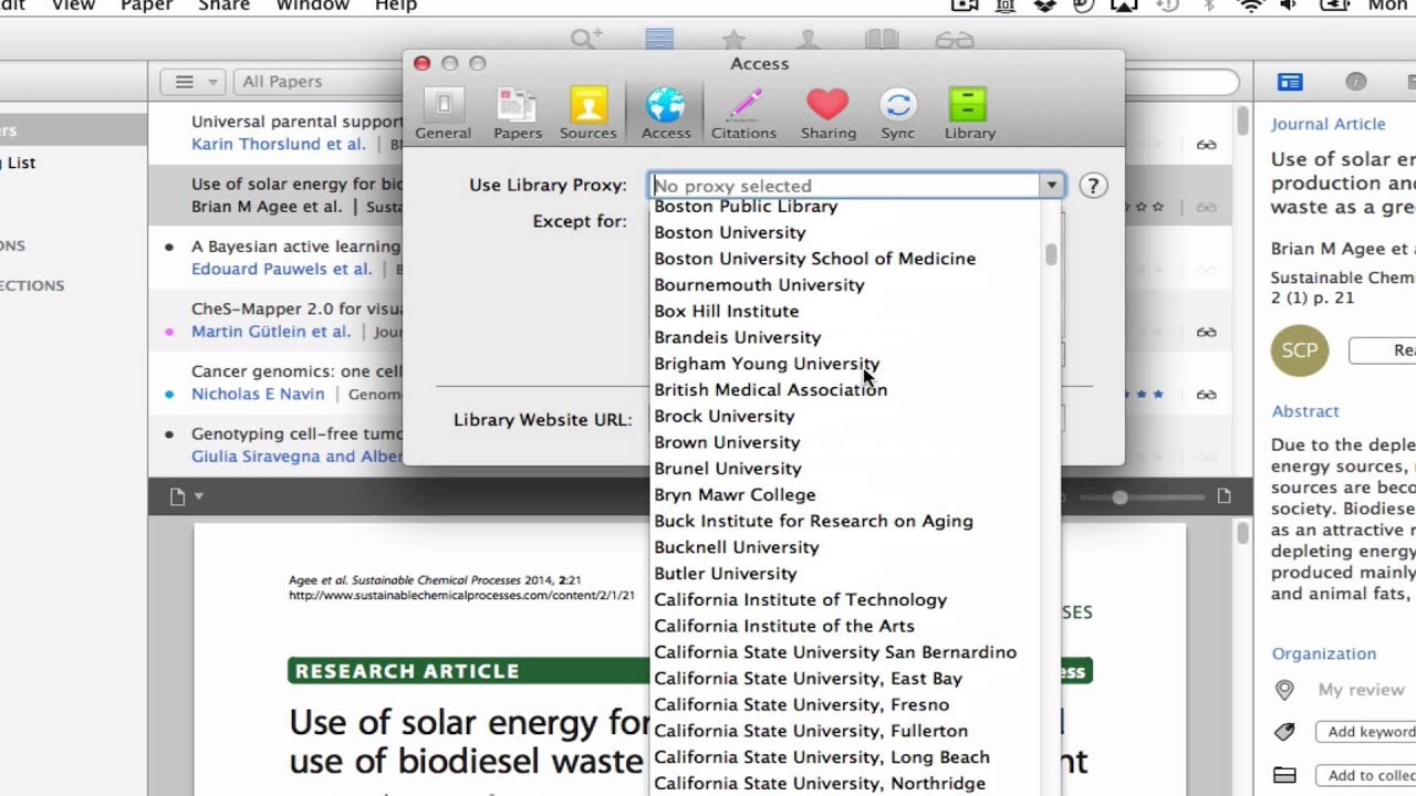 Setting your Proxy on Papers 3 for Mac