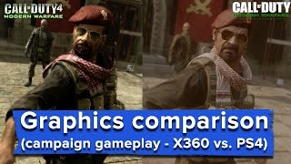 Repeat youtube video Modern Warfare Remastered graphics comparison - full game  (X360 vs. PS4)