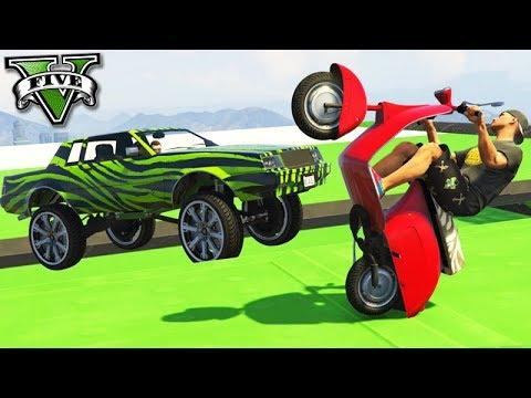 GTA V Online: MOTO vs CARRO GIGANTE - AMASSEI GERAL!!!