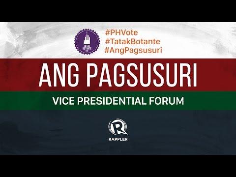 Ang Pagsusuri: The vice-presidential forum