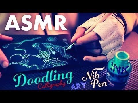[ASMR] Sleep Art - Ink Doodling with Scratching Calligraphy Nib Pen - NO TALKING