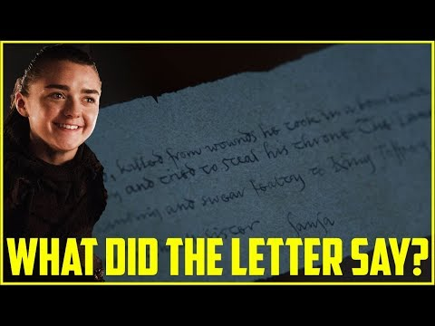 What did the letter Arya found say? | Game of Thrones season 7