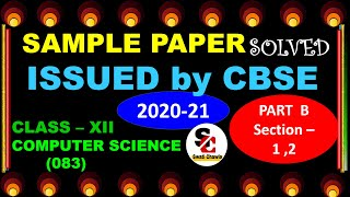 CBSE SAMPLE PAPER 2020-21 PART - B Section -1 2 Class 12 Computer Science with Python