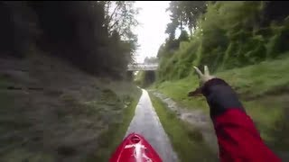 Crazy Guy Kayaks Down Concrete Storm Drain At 35 mp/h!!