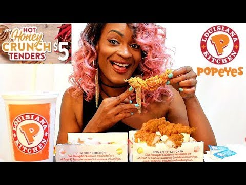 MUKBANG: POPEYES NEW HOT HONEY CRUNCH TENDERS!! EATING SHOW!
