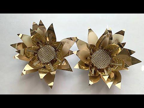 Making Golden flowers for Diwali/ Easy decoration ideas