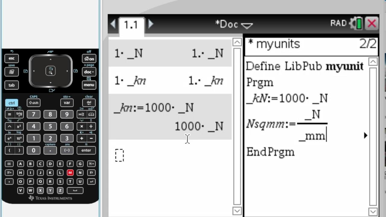 Units and Programming TI nspire CX CAS - Tutorial -