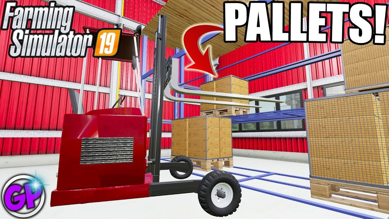 TRANSPORTING PALLETS TO A NEW WAREHOUSE FS19 FORKLIFT FLATBED MOD FARMING  SIMULATOR 2019 MAP MOD PC