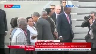 President Obama bids farewell to Uhuru Kenyatta and his government entourage at JKIA